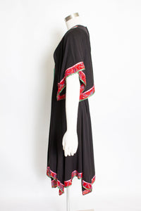 1970s Dress Black Boho Handkerchief Peasant mall