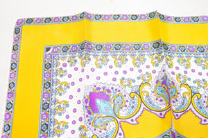 1970s Silk Scarf Burmel DEADSTOCK Japan Paisley Yellow Square