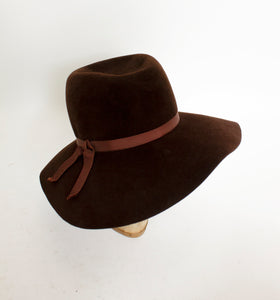 1970s Hat Brown Wool Felted Wide Brim Italy 70s