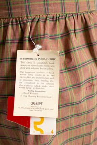 1980s Full Skirt India Cotton Plaid NOS Unworn XS