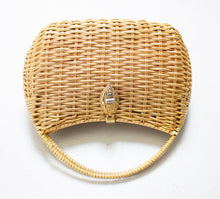 Load image into Gallery viewer, 1960s Basket Purse Gold Metal Woven Wicker Bag