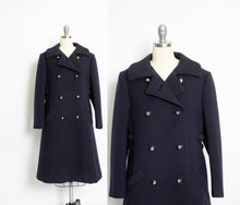 Load image into Gallery viewer, Vintage 1960s Coat Wool Navy Blue Double Breasted Mod 60s Medium M