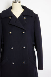 Vintage 1960s Coat Wool Navy Blue Double Breasted Mod 60s Medium M