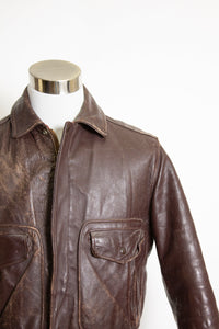 Vintage 1950s Motorcycle Jacket Pennys Brown Leather Bomber 42