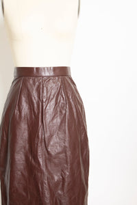 1980s Skirt Brown Leather High Waist XS