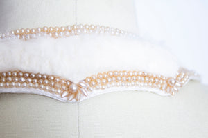 1950s Collar FUR Beaded Faux Pearl Ivory