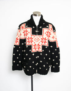 1960s Sweater Snowflake Cardigan Black Wool Knit Large