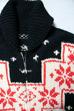 Load image into Gallery viewer, 1960s Sweater Snowflake Cardigan Black Wool Knit Large