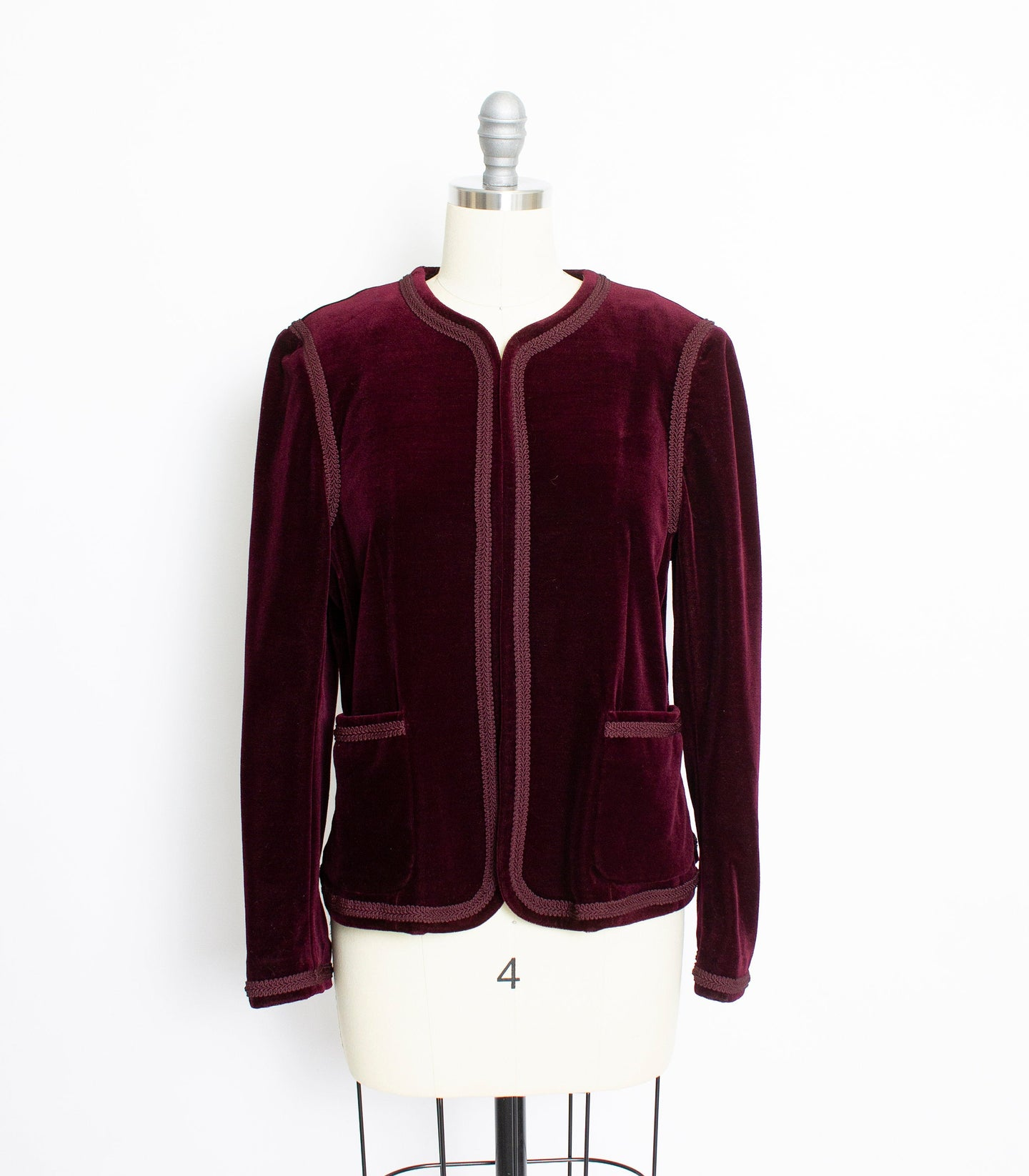 1970s Velvet Jacket Burgundy Purple Blazer Medium