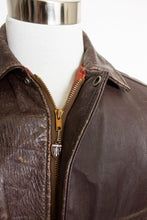 Load image into Gallery viewer, Vintage 1950s Motorcycle Jacket Pennys Brown Leather Bomber 42
