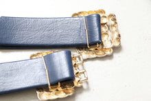 Load image into Gallery viewer, Vintage 1960s Belt Navy Leather Gold Buckle Cinch Waist 60s
