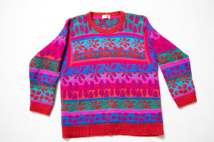 1990s Sweater Wool Bright Oversized Hand Knit Pull Over L /  M