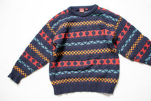 Load image into Gallery viewer, 1990s Wool Sweater Men's Striped Knit Crewneck Nordstrom Large