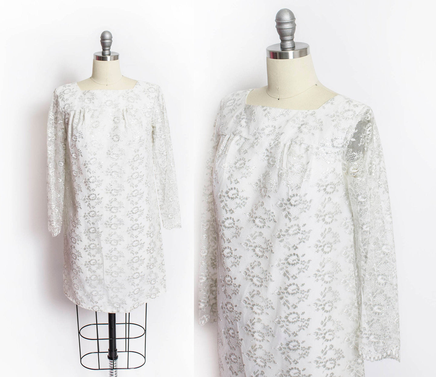 Vintage 60s Dress Silver Lace Mini Mod 1960s Small / XS