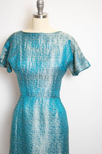 1950s Dress Metallic Silver Wiggle 50s XS Extra Small