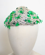 Load image into Gallery viewer, 1960s Hat Silver Lame Green Beaded Cap