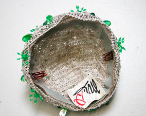 1960s Hat Silver Lame Green Beaded Cap