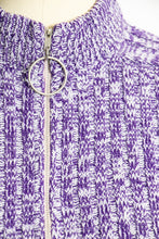 Load image into Gallery viewer, 1970s Sweater Knit Purple Heathered Zip Up S
