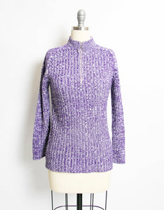 1970s Sweater Knit Purple Heathered Zip Up S
