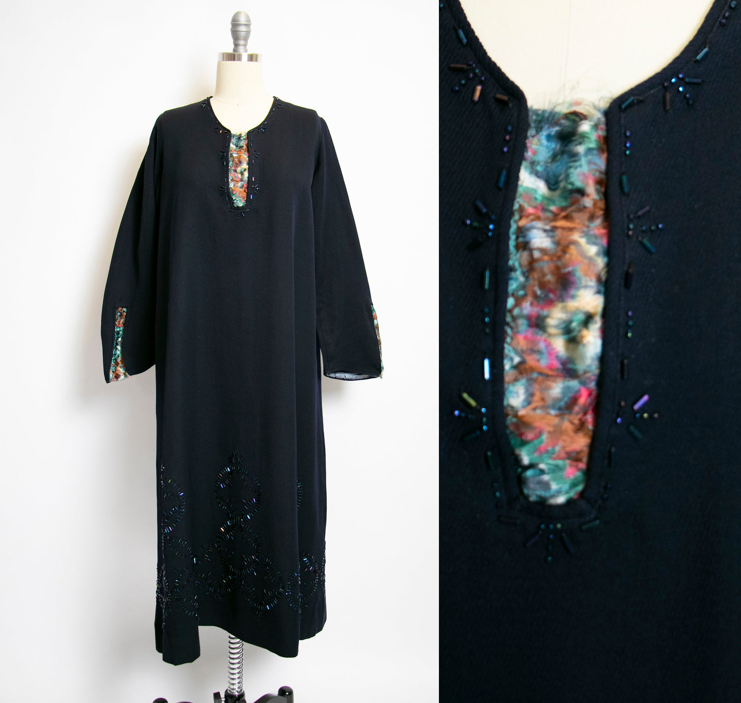 1920s Day Dress Wool Navy BEADED Flapper Deco M