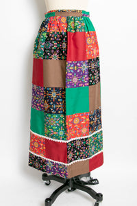 1970s QUILTED Patchwork 1970s Maxi Skirt XS