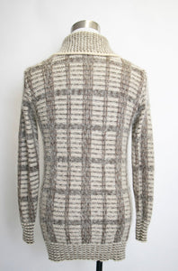 1970s Men's Cardigan Wool Mohair Grey Fuzzy Sweater M