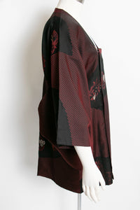 1960s Michiyuki Black Red Japanese Jacket Haori Robe