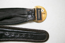 Load image into Gallery viewer, Vintage 1980s Belt Black Leather Wide Waist Cinch Small