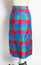 Load image into Gallery viewer, 1980s Silk Skirt Plaid Jewel Tone High Waist L