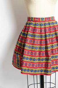 1940s Full Skirt Mini Cotton Pockets Printed Small