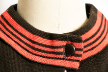 Load image into Gallery viewer, Vintage 1960s Sweater Brown Wool Knit Neon Stripe Cardigan 60s Medium