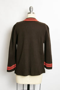 Vintage 1960s Sweater Brown Wool Knit Neon Stripe Cardigan 60s Medium