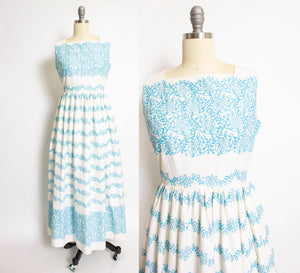 1950s Dress Cotton Cut Out Floral Full Length Small
