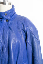Load image into Gallery viewer, 1980s Leather Jacket Cobalt Blue L