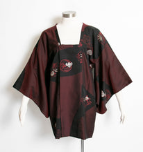 Load image into Gallery viewer, 1960s Michiyuki Black Red Japanese Jacket Haori Robe