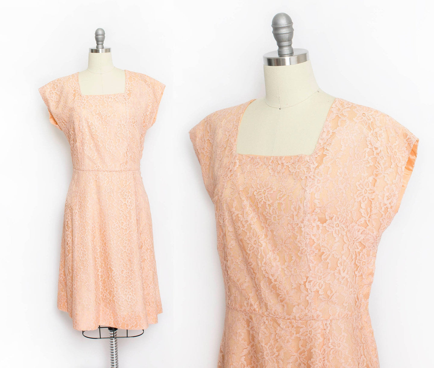 Vintage 50s Dress Champagne Lace Full Skirt Cocktail Party 1960s Large