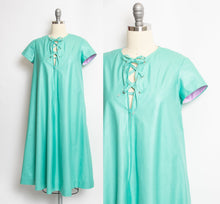Load image into Gallery viewer, Vintage 1960s House Dress Mint Polished Tie Tent Small S