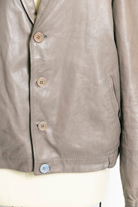 1980s Leather Jacket Taupe 80s Large