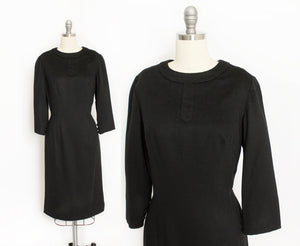1950s Dress Black Wool Silk Fitted Wiggle Day M