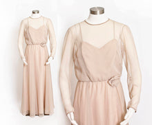 Load image into Gallery viewer, Vintage 1960s Dress MISS ELLIETTE Beige Coffee Chiffon Illusion Gown Medium M