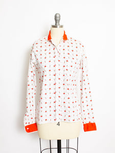 1950s Shirt Novelty Print French Cafe Button Up Blouse M