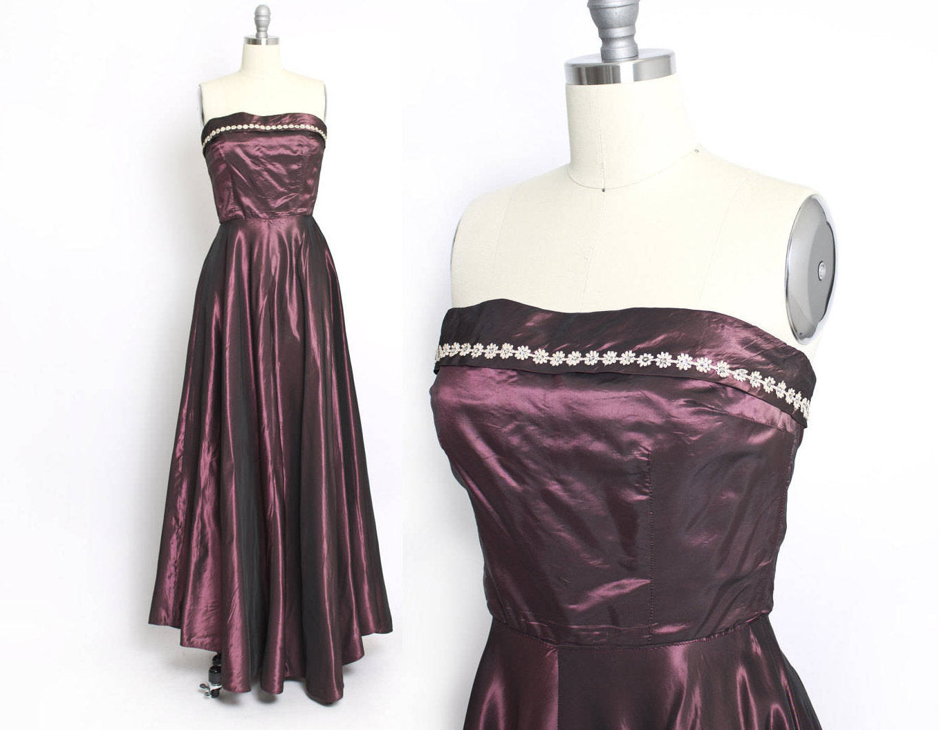 1950s Dress Sharkskin Taffeta Rhinestone Strapless Full Skirt Gown S