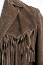 Load image into Gallery viewer, Vintage 1970s FRINGE Suede Jacket  Western Leather Coat Medium