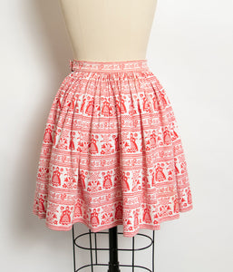 1950s Full Skirt Cotton Folk Printed 50s XS Petite