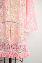 Load image into Gallery viewer, 1960s LACE Jacket Sheer Pink Lounge Robe Medium