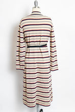 Load image into Gallery viewer, 1970s Dress Knit Striped Long Sleeved Designer Belted 70s Large
