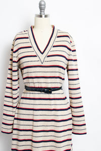 1970s Dress Knit Striped Long Sleeved Designer Belted 70s Large