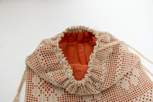 Load image into Gallery viewer, 1940s Crochet Cotton Purse Drawstring Bag