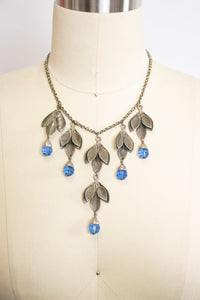 1940s Necklace Silver Chain Beaded Dangle Leaf
