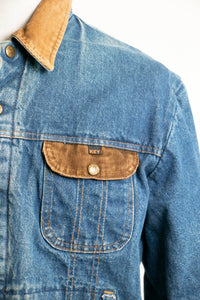 1980s Denim Jacket Quilted Red Jean Coat Corduroy Large